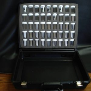 Black Velour  Carrying Case with 45 Empty Jars in Foam